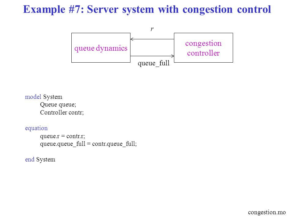 Example #7: Server system with congestion control congestion controller queue dynamics r queue_full model System Queue queue; Controller contr; equation queue.r = contr.r; queue.queue_full = contr.queue_full; end System congestion.mo