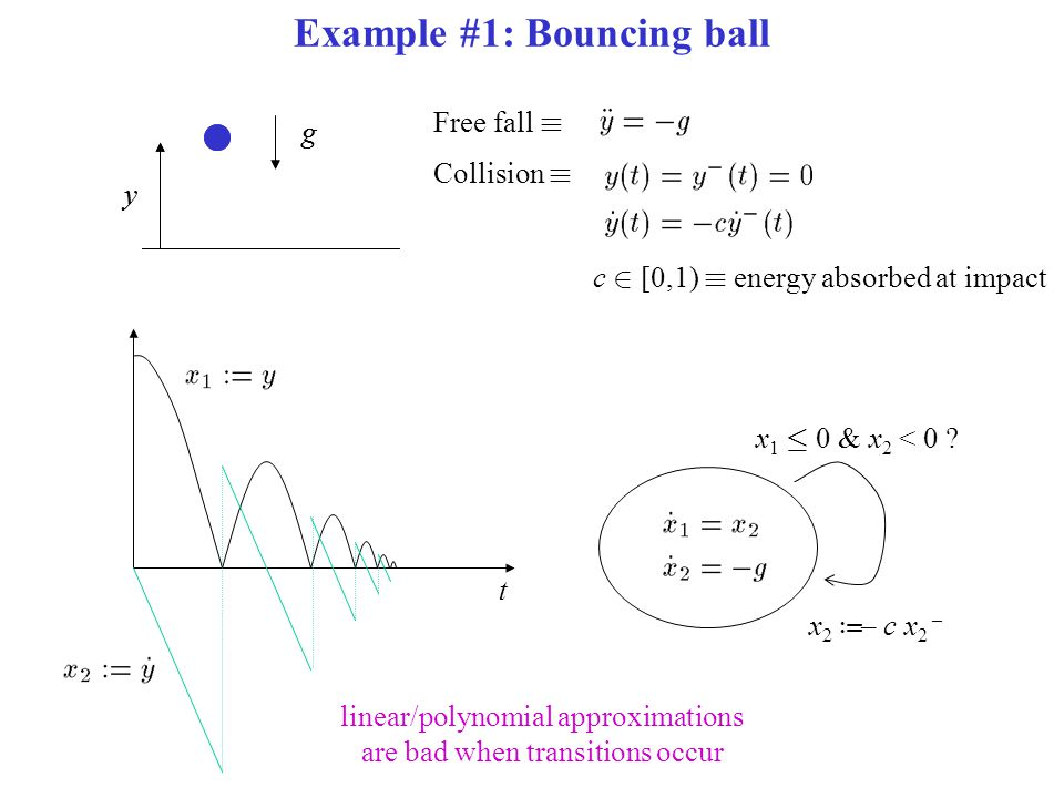 Example #1: Bouncing ball t Free fall ´ Collision ´ g y g y c 2 [0,1) ´ energy absorbed at impact x 1 · 0 & x 2 < 0 .
