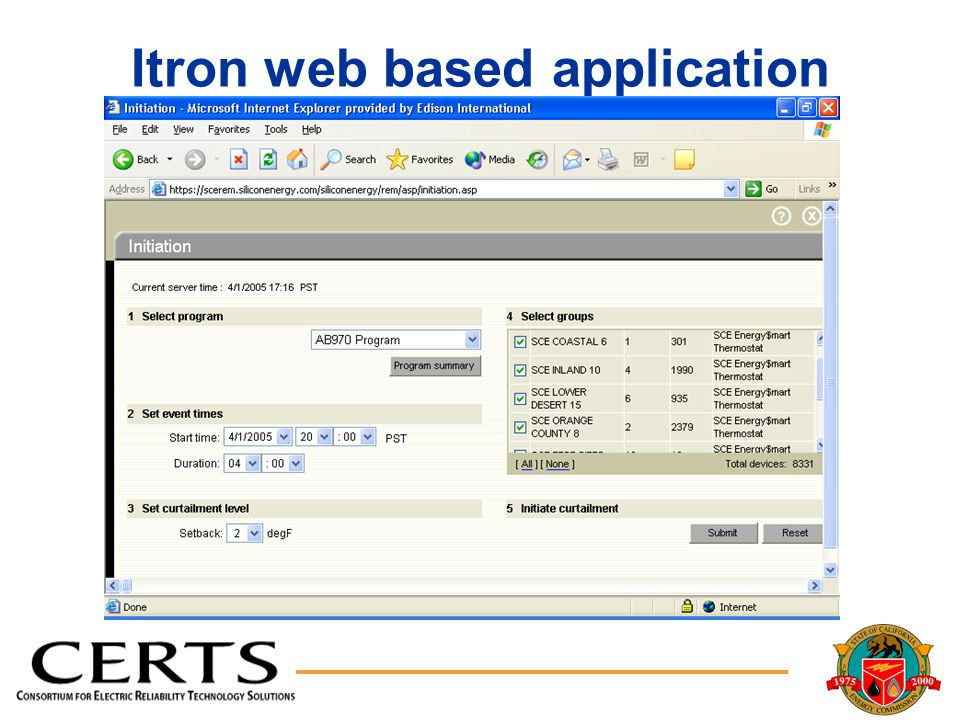 Itron web based application