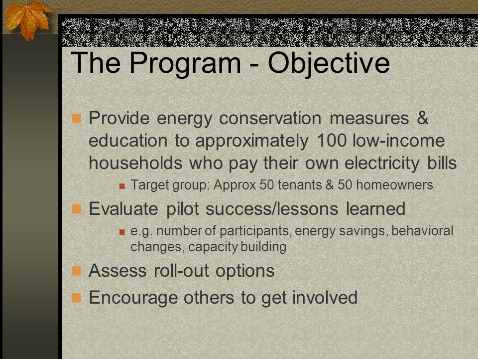 The Program - Objective Provide energy conservation measures & education to approximately 100 low-income households who pay their own electricity bills Target group: Approx 50 tenants & 50 homeowners Evaluate pilot success/lessons learned e.g.