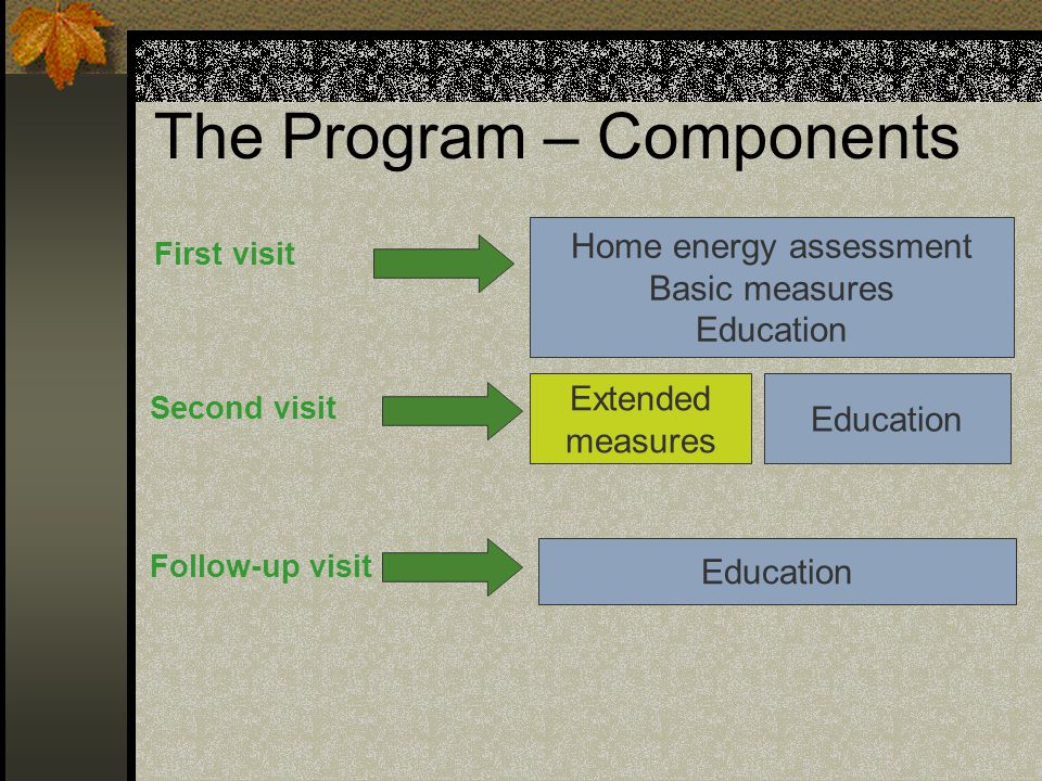 The Program – Components First visit Home energy assessment Basic measures Education Second visit Follow-up visit Extended measures Education