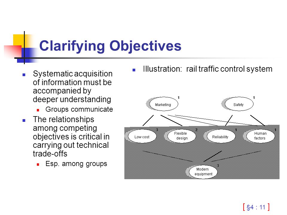 [ §4 : 11 ] Clarifying Objectives Systematic acquisition of information must be accompanied by deeper understanding Groups communicate The relationships among competing objectives is critical in carrying out technical trade-offs Esp.