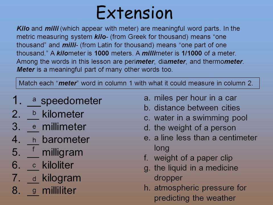 "Extension Kilo and milli (which appear with meter) are meaningful word parts. In the metric measuring system kilo- (from Greek for thousand) means ""on"