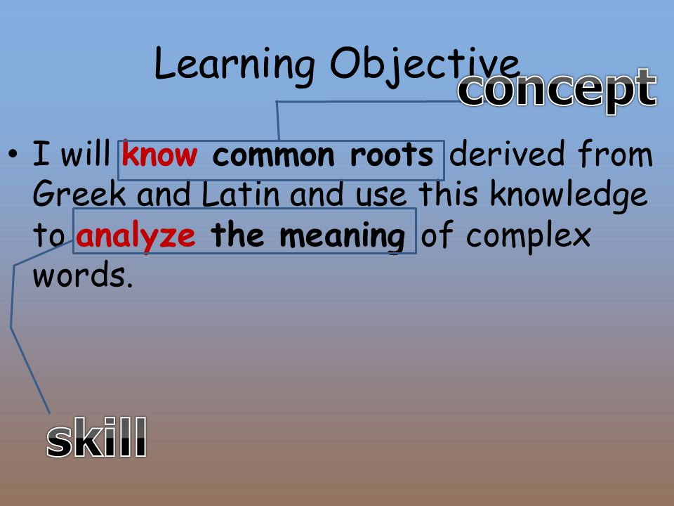 Learning Objective I will know common roots derived from Greek and Latin and use this knowledge to analyze the meaning of complex words.