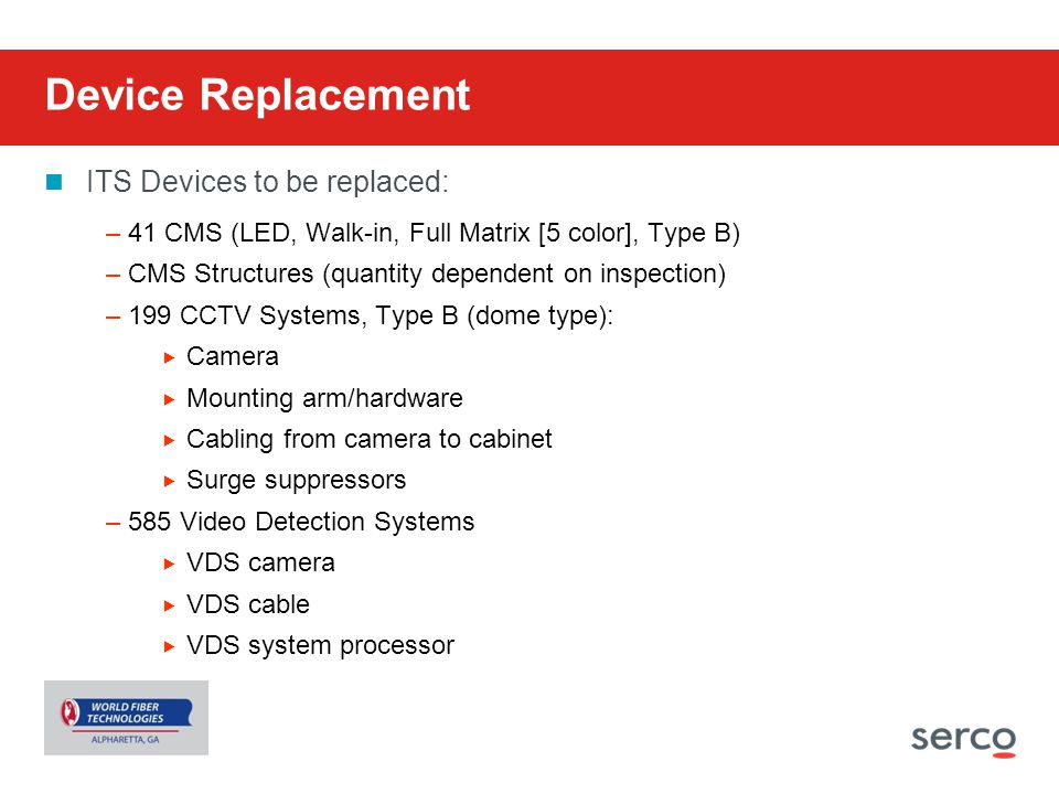 Device Replacement ITS Devices to be replaced: –41 CMS (LED, Walk-in, Full Matrix [5 color], Type B) –CMS Structures (quantity dependent on inspection