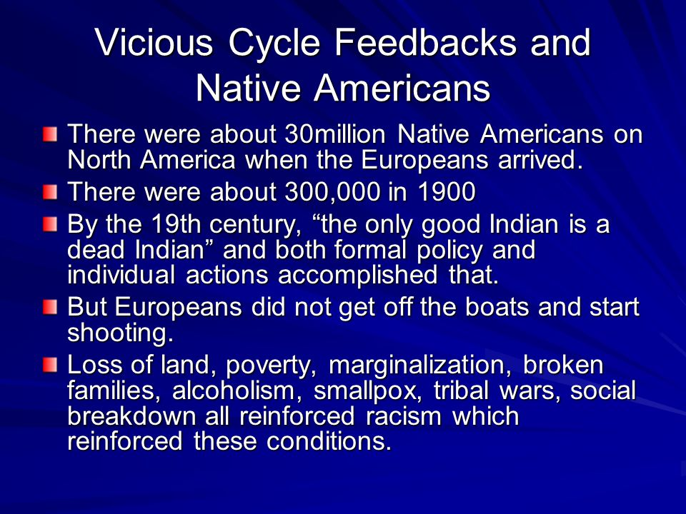 Vicious Cycle Feedbacks and Native Americans There were about 30million Native Americans on North America when the Europeans arrived.