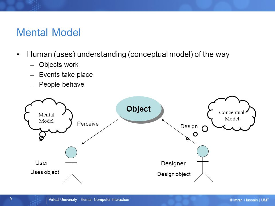 Virtual University - Human Computer Interaction 40 © Imran Hussain | UMT Errors Developers should design for errors –Must assume errors will occur –Minimize errors –Errors should be easy to detect –Effects of errors should be minimal –Effects of errors should be reversible