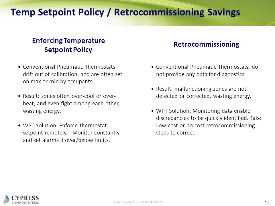15 www.CypressEnvirosystems.com Temp Setpoint Policy / Retrocommissioning Savings Enforcing Temperature Setpoint Policy Conventional Pneumatic Thermos