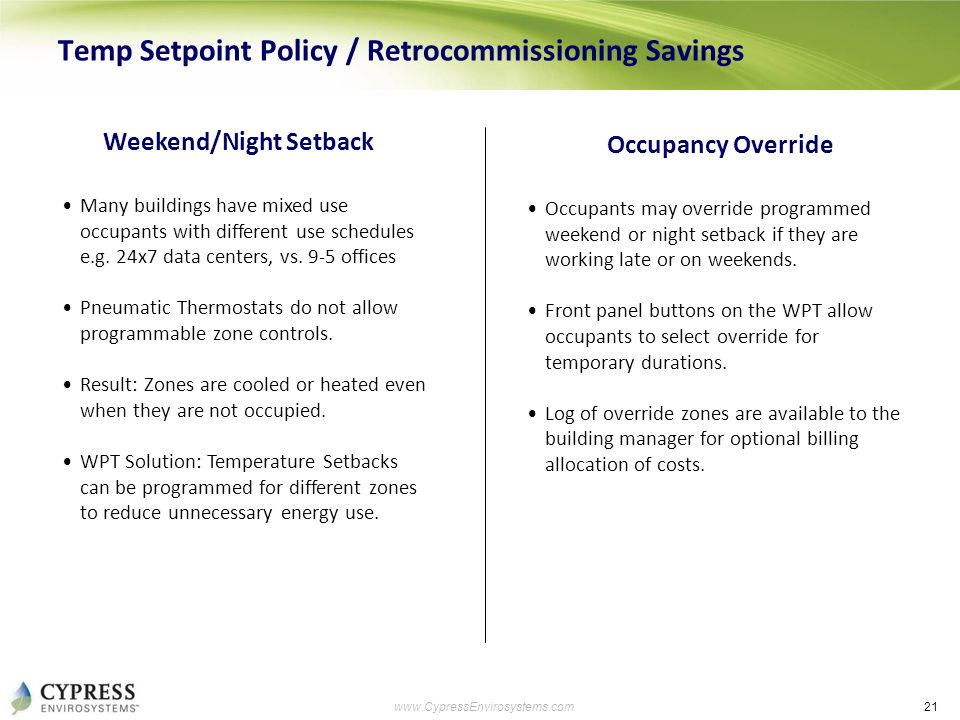 21 www.CypressEnvirosystems.com Temp Setpoint Policy / Retrocommissioning Savings Weekend/Night Setback Many buildings have mixed use occupants with d