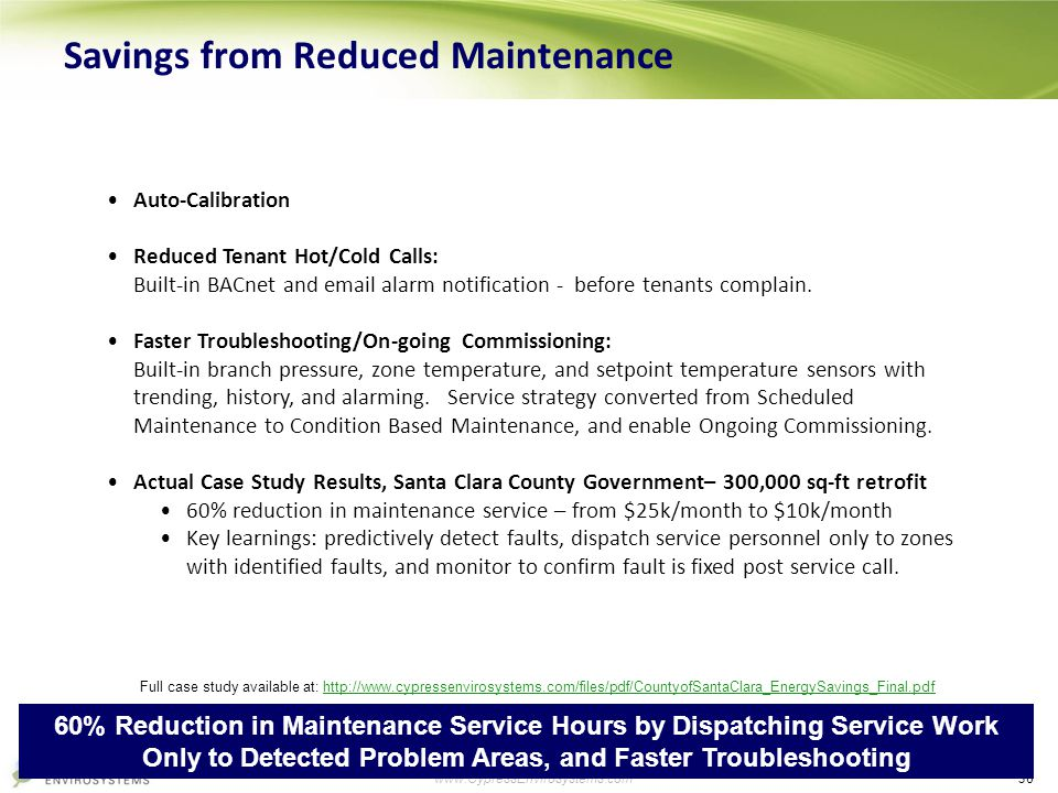 30 www.CypressEnvirosystems.com Savings from Reduced Maintenance Auto-Calibration Reduced Tenant Hot/Cold Calls: Built-in BACnet and email alarm notif