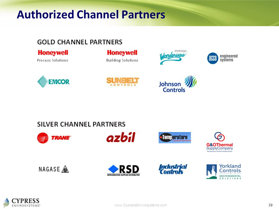39 www.CypressEnvirosystems.com Authorized Channel Partners