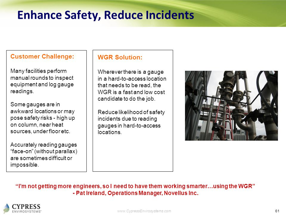 61 www.CypressEnvirosystems.com Enhance Safety, Reduce Incidents Customer Challenge: Many facilities perform manual rounds to inspect equipment and lo