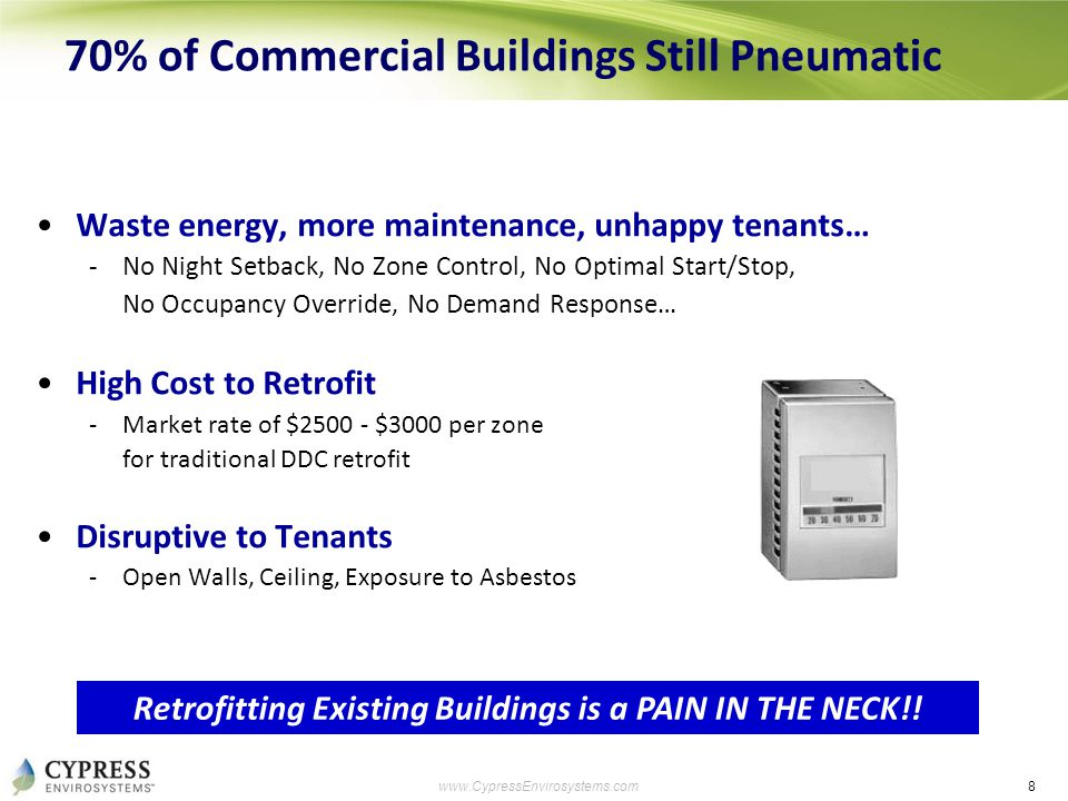 8 www.CypressEnvirosystems.com 70% of Commercial Buildings Still Pneumatic Waste energy, more maintenance, unhappy tenants… -No Night Setback, No Zone