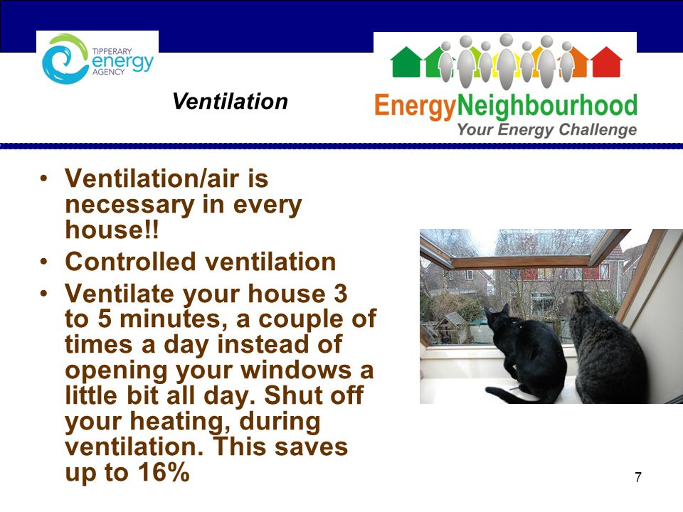 Ventilation Ventilation/air is necessary in every house!.