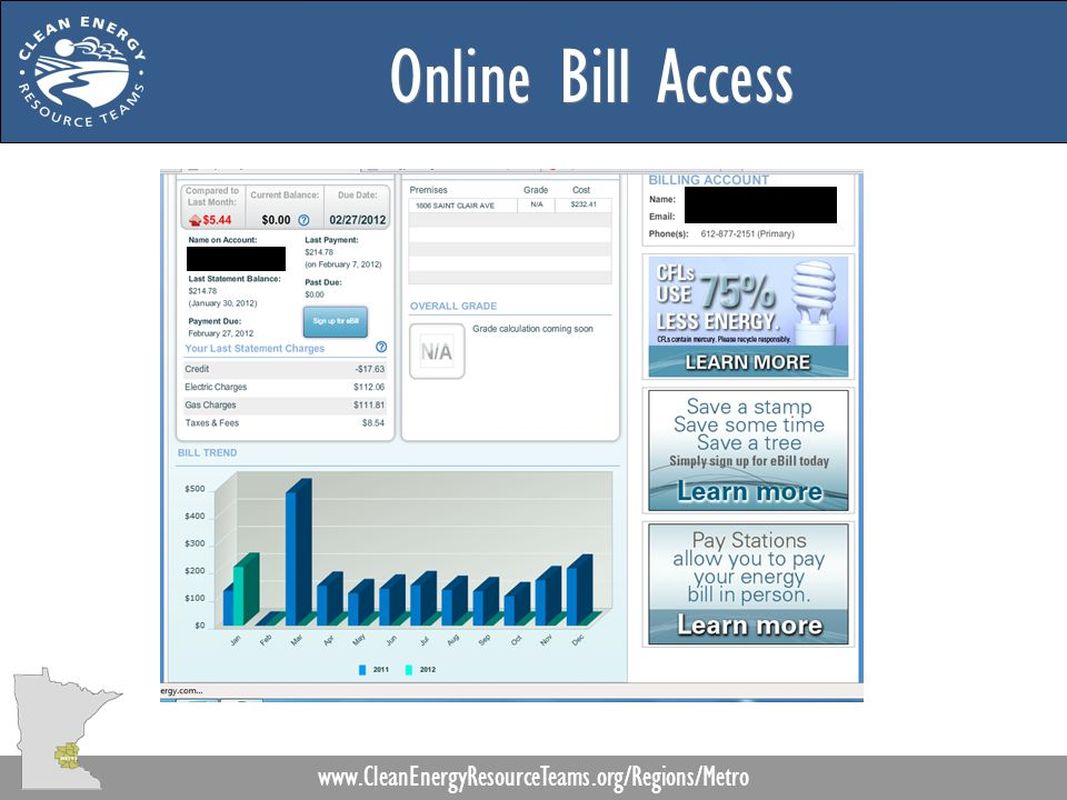 Online Bill Access www.CleanEnergyResourceTeams.org/Regions/Metro