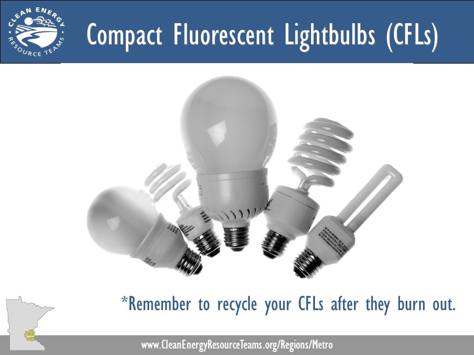Compact Fluorescent Lightbulbs (CFLs) www.CleanEnergyResourceTeams.org/Regions/Metro *Remember to recycle your CFLs after they burn out.