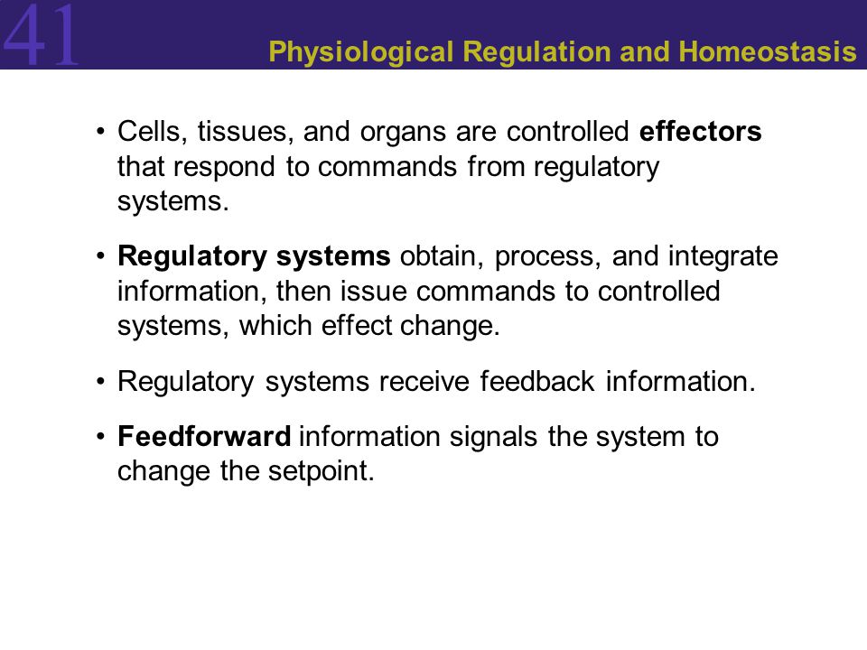 41 Physiological Regulation and Homeostasis Cells, tissues, and organs are controlled effectors that respond to commands from regulatory systems.