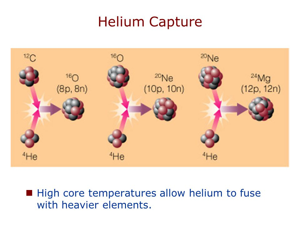 Helium Capture High core temperatures allow helium to fuse with heavier elements.