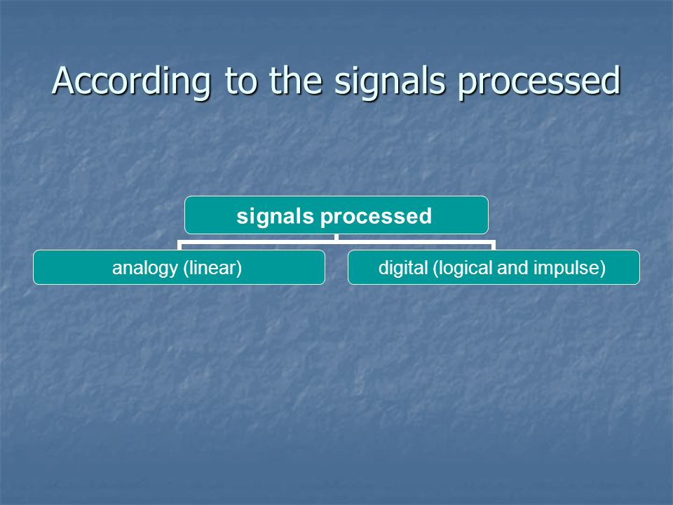 According to the signals processed signals processed analogy (linear) digital (logical and impulse)