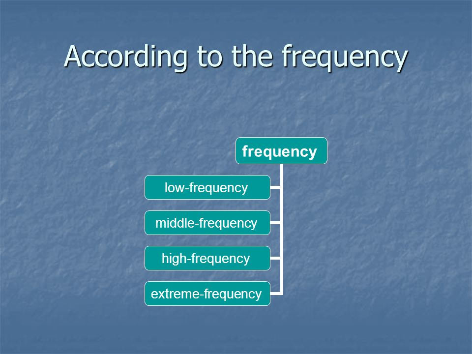 According to the frequency frequency low- frequency middle- frequency high- frequency extreme- frequency