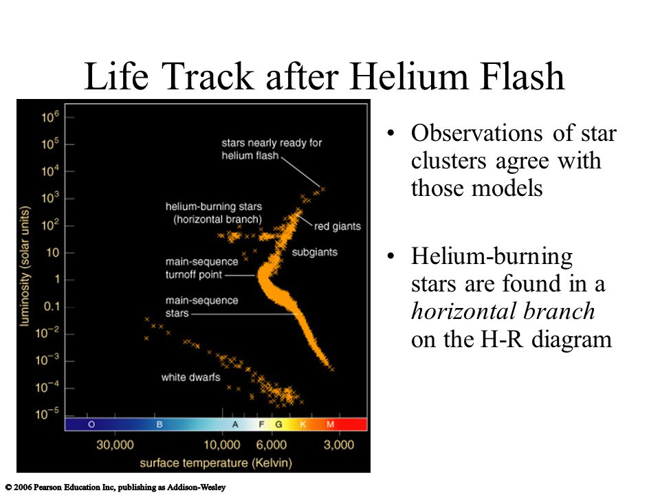 Life Track after Helium Flash Observations of star clusters agree with those models Helium-burning stars are found in a horizontal branch on the H-R diagram