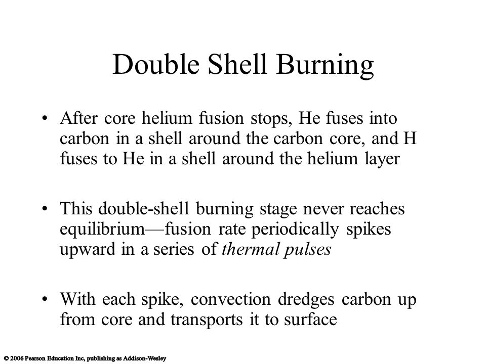 Double Shell Burning After core helium fusion stops, He fuses into carbon in a shell around the carbon core, and H fuses to He in a shell around the helium layer This double-shell burning stage never reaches equilibrium—fusion rate periodically spikes upward in a series of thermal pulses With each spike, convection dredges carbon up from core and transports it to surface