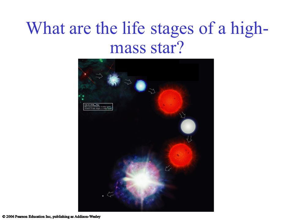 What are the life stages of a high- mass star
