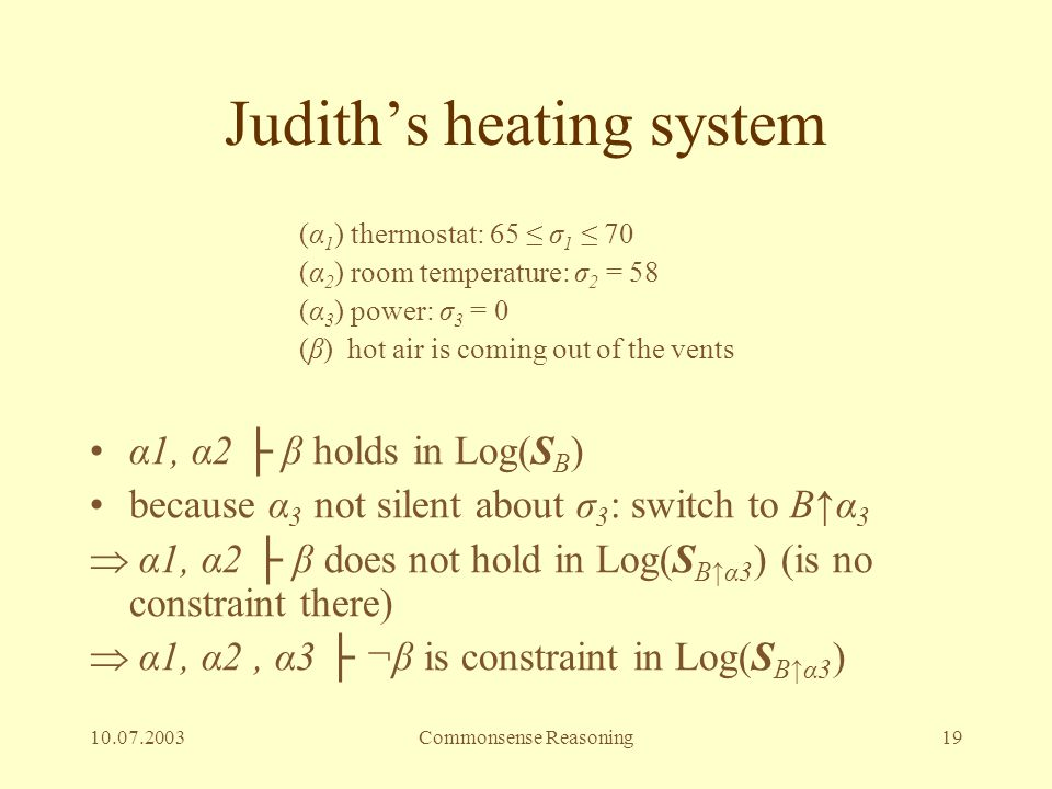 10.07.2003Commonsense Reasoning19 Judith's heating system (α 1 ) thermostat: 65 ≤ σ 1 ≤ 70 (α 2 ) room temperature: σ 2 = 58 (α 3 ) power: σ 3 = 0 (β)