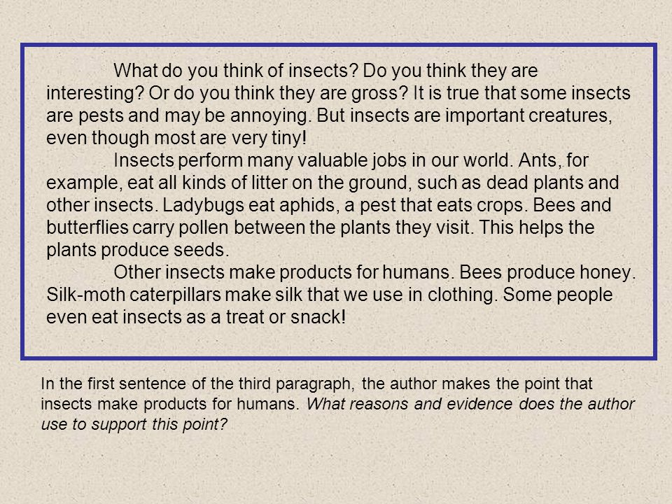 In the first sentence of the third paragraph, the author makes the point that insects make products for humans.