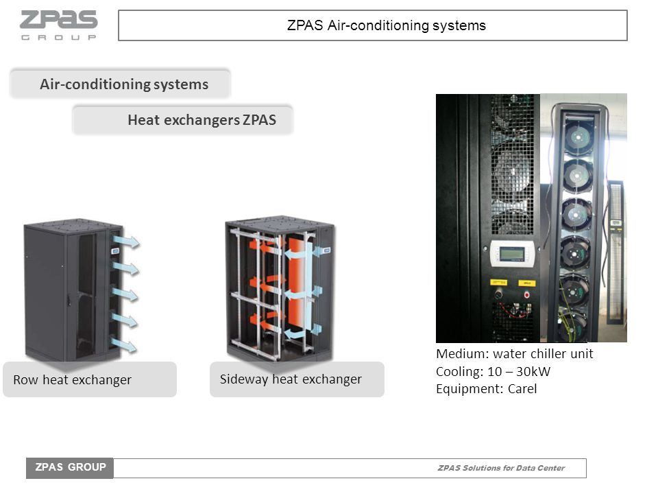 ZPAS Solutions for Data Center ZPAS GROUP ZPAS Air-conditioning systems Medium: water chiller unit Cooling: 10 – 30kW Equipment: Carel Air-conditionin