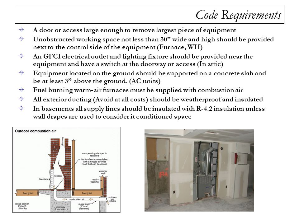 "Code Requirements  A door or access large enough to remove largest piece of equipment  Unobstructed working space not less than 30"" wide and high sh"