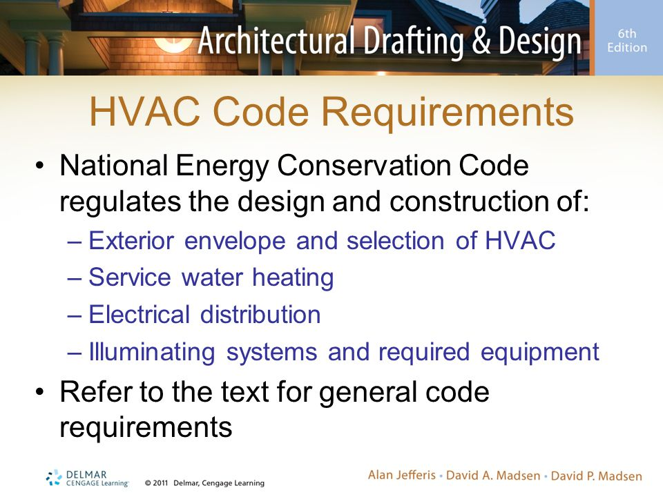 Code Requirements  IECC is updated every three years and is designed to provide an energy efficient environment for humans  Equipment in a garage must be protected from automobile impact (slab on grade construction would have a 18 platform)  Programmable Thermostat  Exterior (Building) envelope is space that is heated and cooled Conditioned (finished square footage) Unconditioned (basement unfinished) -Must be separated by a door
