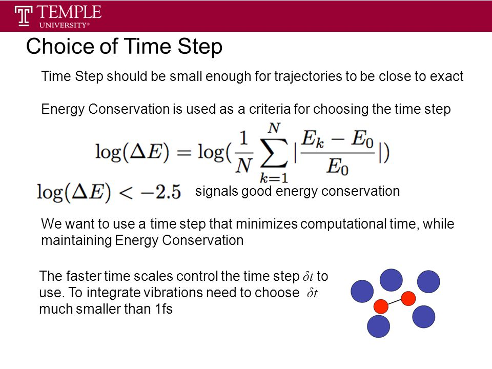 Choice of Time Step Time Step should be small enough for trajectories to be close to exact Energy Conservation is used as a criteria for choosing the time step signals good energy conservation We want to use a time step that minimizes computational time, while maintaining Energy Conservation The faster time scales control the time step δt to use.