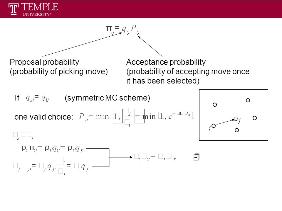 i j Proposal probability (probability of picking move) Acceptance probability (probability of accepting move once it has been selected) one valid choice: If 4 (symmetric MC scheme)