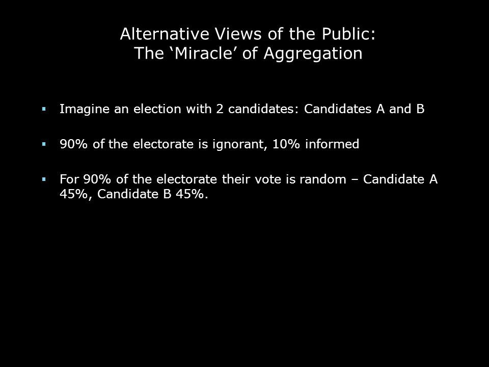 Alternative Views of the Public: The 'Miracle' of Aggregation  Imagine an election with 2 candidates: Candidates A and B  90% of the electorate is i