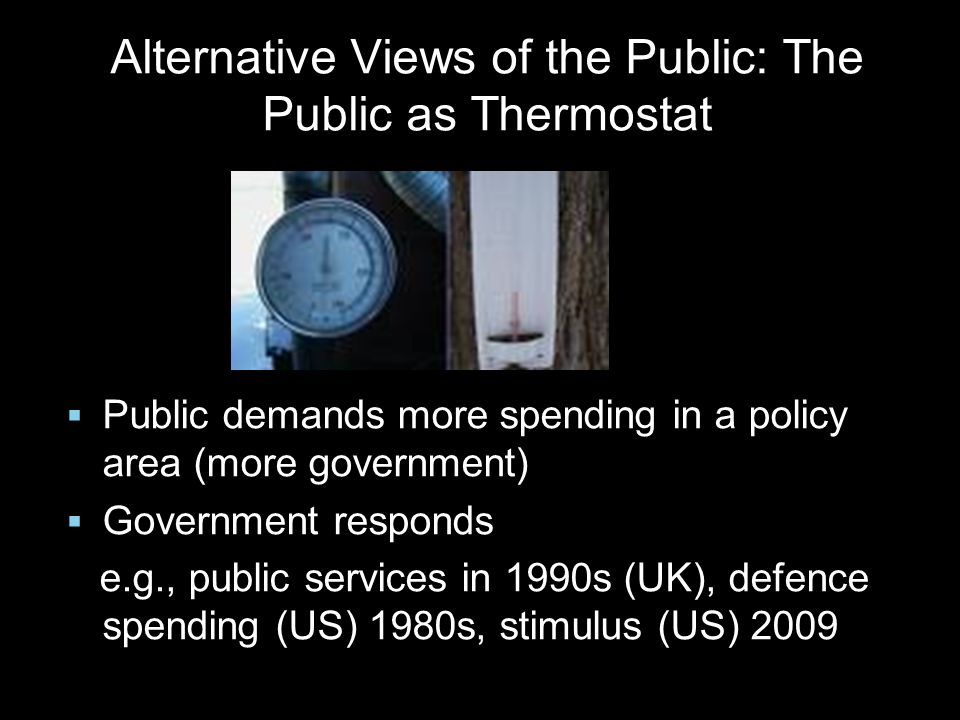  Public demands more spending in a policy area (more government)  Government responds e.g., public services in 1990s (UK), defence spending (US) 198