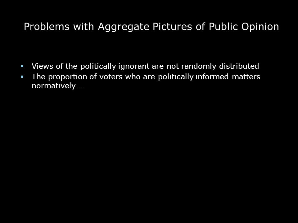 Problems with Aggregate Pictures of Public Opinion  Views of the politically ignorant are not randomly distributed  The proportion of voters who are