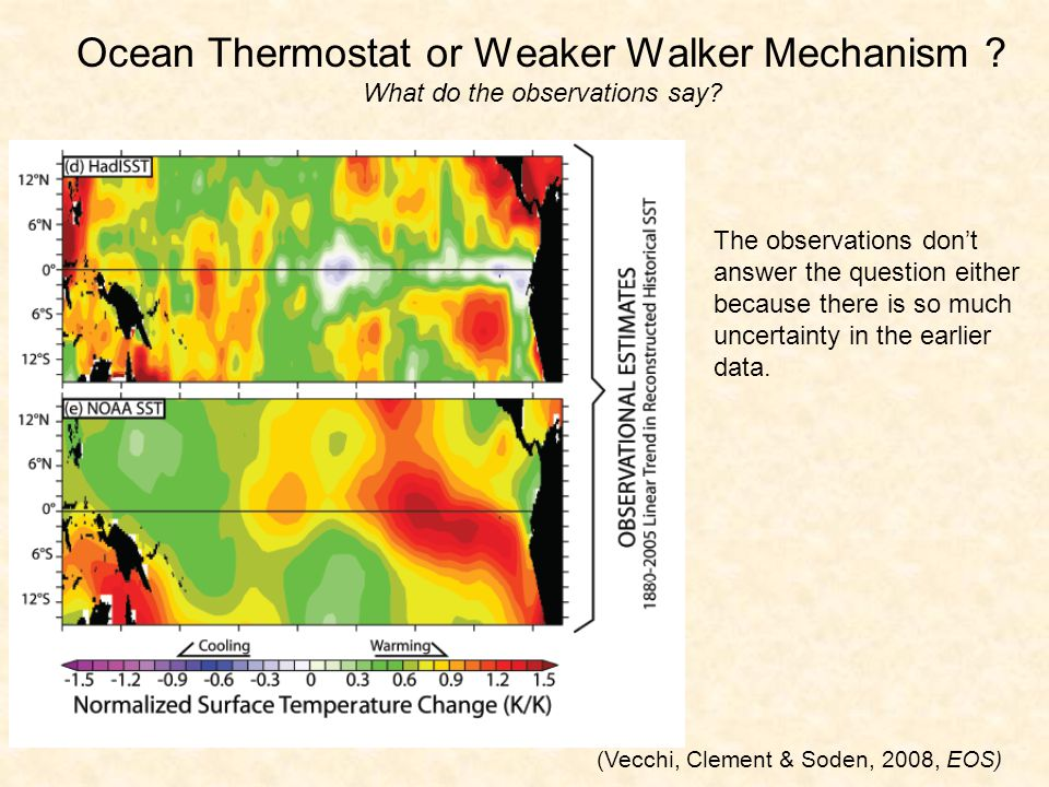 Ocean Thermostat or Weaker Walker Mechanism . What do the observations say.