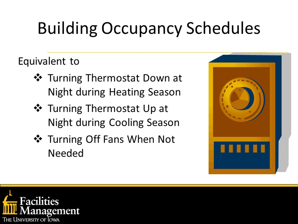 Building Occupancy Schedules Equivalent to  Turning Thermostat Down at Night during Heating Season  Turning Thermostat Up at Night during Cooling Season  Turning Off Fans When Not Needed