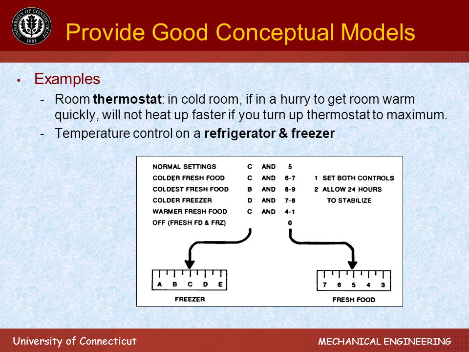 University of Connecticut MECHANICAL ENGINEERING Provide Good Conceptual Models Examples -Room thermostat: in cold room, if in a hurry to get room warm quickly, will not heat up faster if you turn up thermostat to maximum.