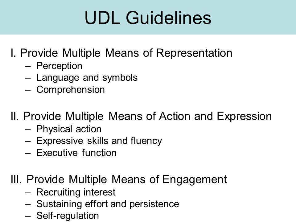UDL Guidelines I.
