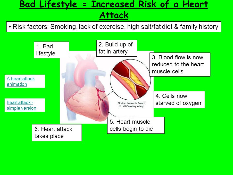 Bad Lifestyle = Increased Risk of a Heart Attack Risk factors: Smoking, lack of exercise, high salt/fat diet & family history A heart attack animation