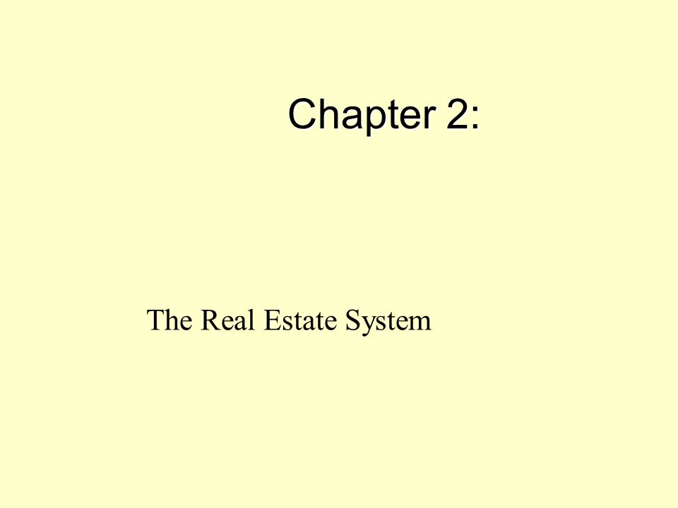 Chapter 2: The Real Estate System