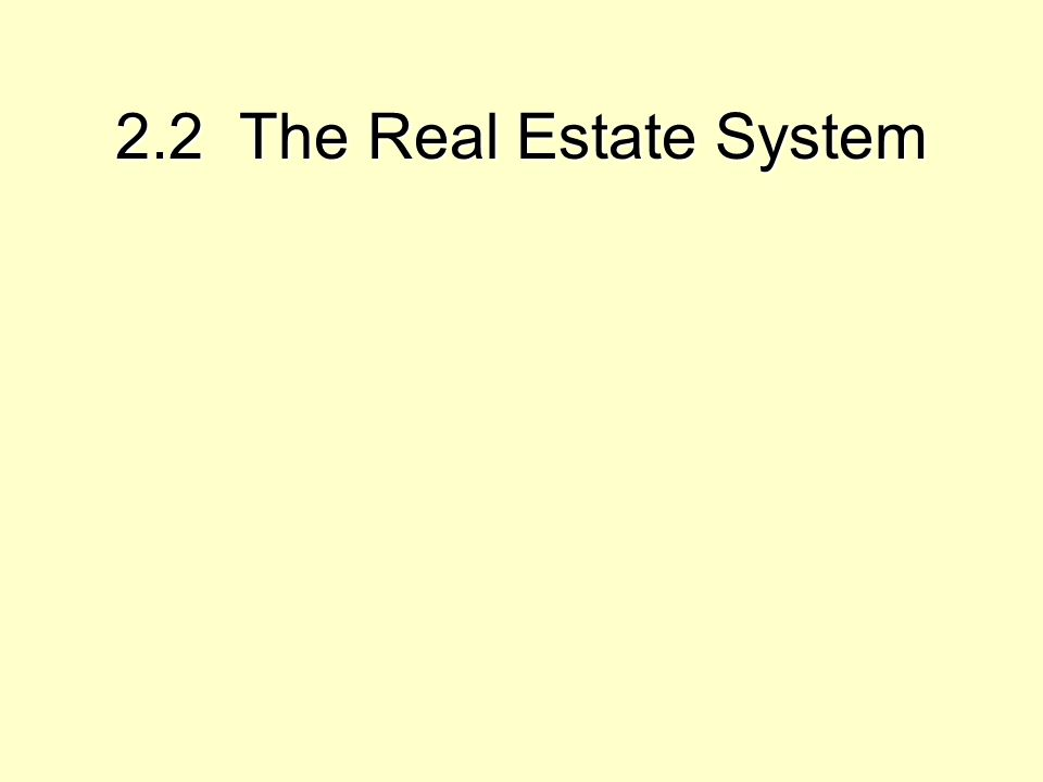 Exhibit 2-2: The Real Estate System : Interaction of the Space Market, Asset Market, & Development Industry SPACE MARKET SUPPLY (Landlords) DEMAND (Tenants) RENTS & OCCUPANCY LOCAL & NATIONAL ECONOMY FORECAST FUTURE ASSET MARKET SUPPLY (Owners Selling) DEMAND (Investors Buying) CASH FLOW MKT REQ'D CAP RATE PROPERTY MARKET VALUE DEVELOPMENT INDUSTRY IS DEVELPT PROFITABLE .