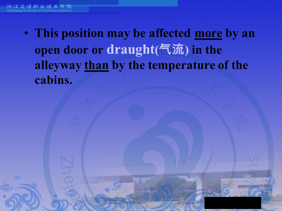 This position may be affected more by an open door or draught ( 气流 ) in the alleyway than by the temperature of the cabins.