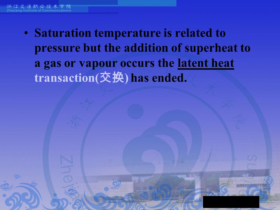 Saturation temperature is related to pressure but the addition of superheat to a gas or vapour occurs the latent heat transaction( 交换 ) has ended.