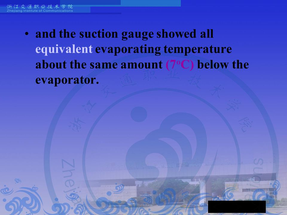 and the suction gauge showed all equivalent evaporating temperature about the same amount (7 o C) below the evaporator.