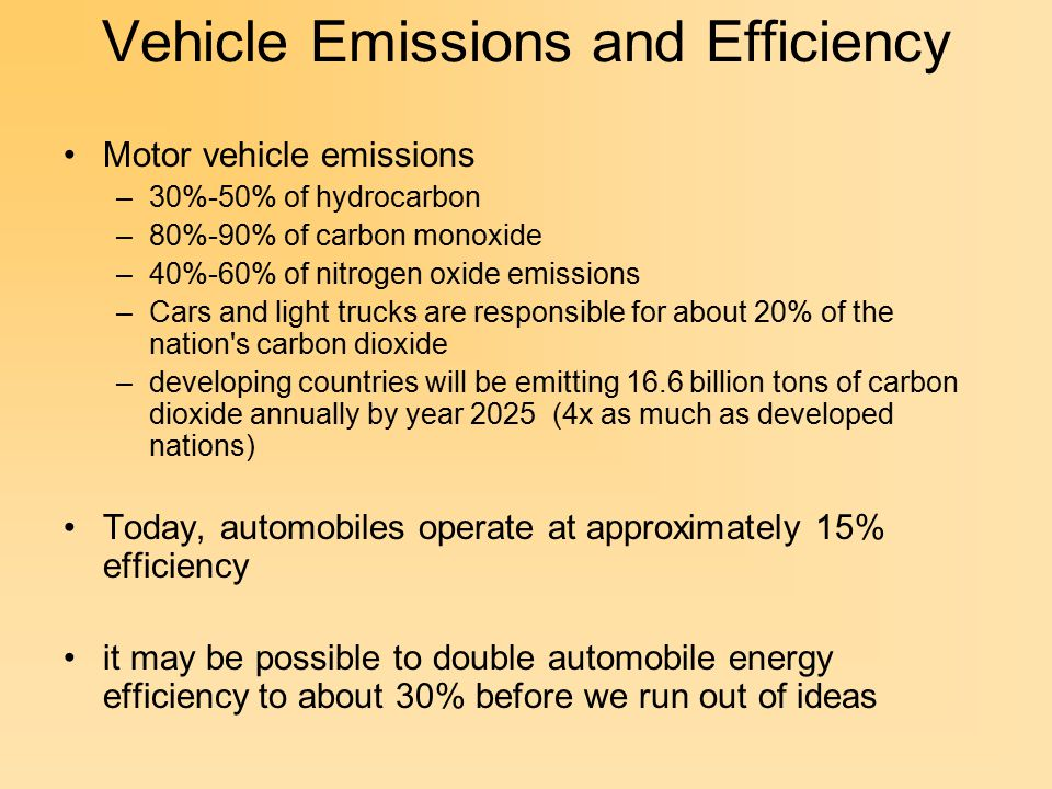Vehicle Emissions and Efficiency Motor vehicle emissions –30%-50% of hydrocarbon –80%-90% of carbon monoxide –40%-60% of nitrogen oxide emissions –Cars and light trucks are responsible for about 20% of the nation s carbon dioxide –developing countries will be emitting 16.6 billion tons of carbon dioxide annually by year 2025 (4x as much as developed nations) Today, automobiles operate at approximately 15% efficiency it may be possible to double automobile energy efficiency to about 30% before we run out of ideas