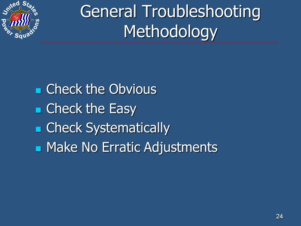 24 General Troubleshooting Methodology Check the Obvious Check the Obvious Check the Easy Check the Easy Check Systematically Check Systematically Make No Erratic Adjustments Make No Erratic Adjustments