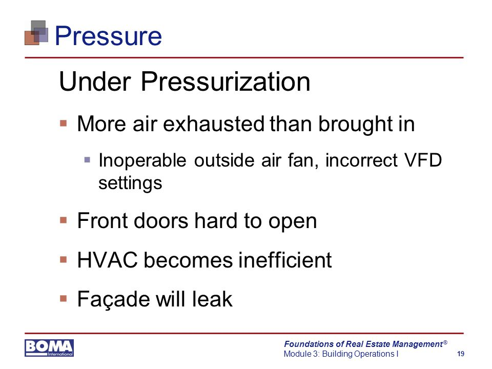 Foundations of Real Estate Management Module 3: Building Operations I 19 ® Pressure Under Pressurization  More air exhausted than brought in  Inoperable outside air fan, incorrect VFD settings  Front doors hard to open  HVAC becomes inefficient  Façade will leak